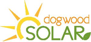 Dogwood Solar logo with sun and leaf