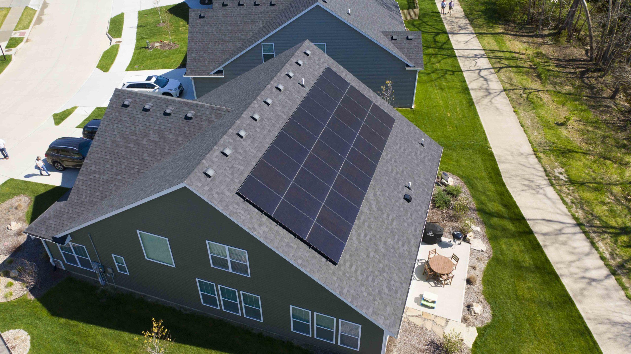 Bob and Karen's solar panel install facing south in southwest Columbia, Missouri.