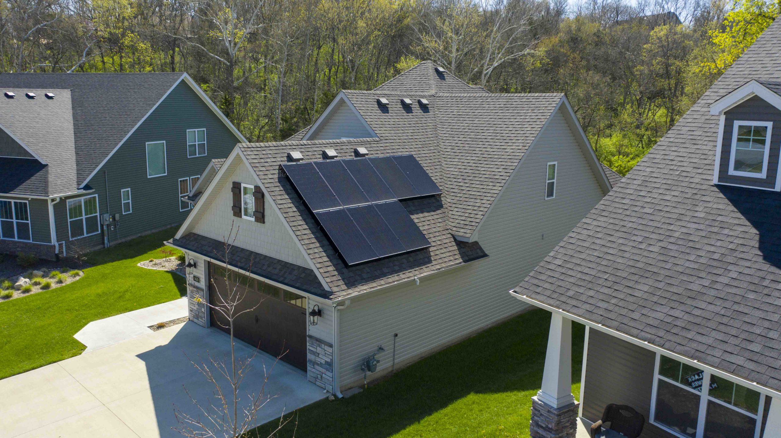 A bird's eye view of these residential solar panels showcase the clean lines and unobstructed view.