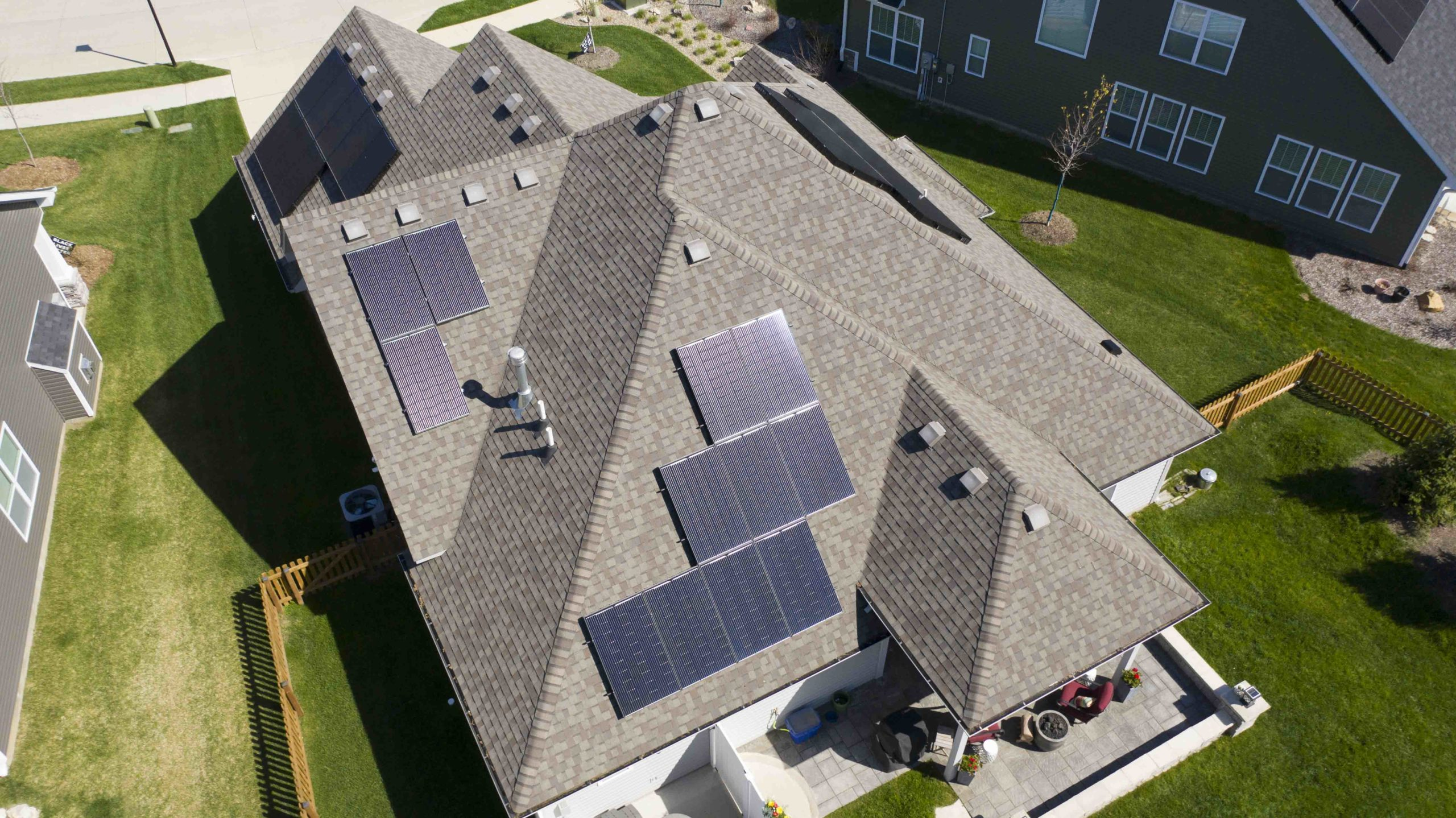 Multiple sides of this residential roof are utilized to capture the solar energy.