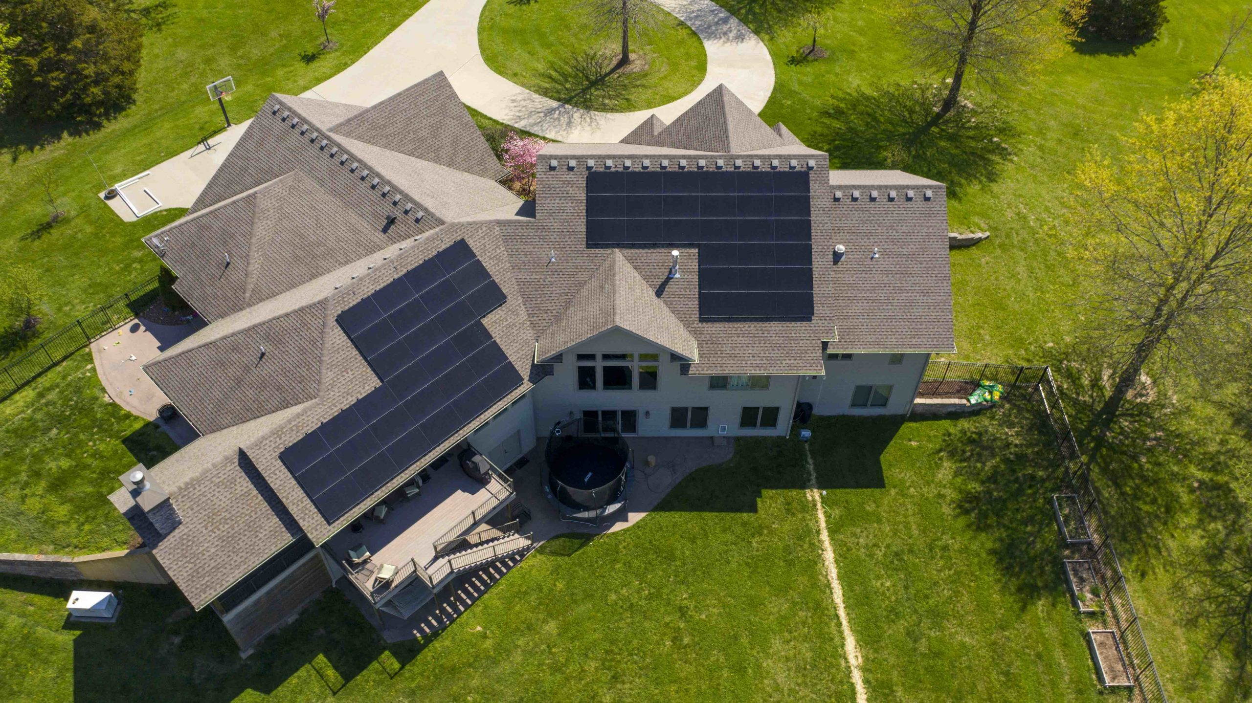 Solar panels on a large home in Columbia, Missouri. Boone County solar install by Dogwood Solar.