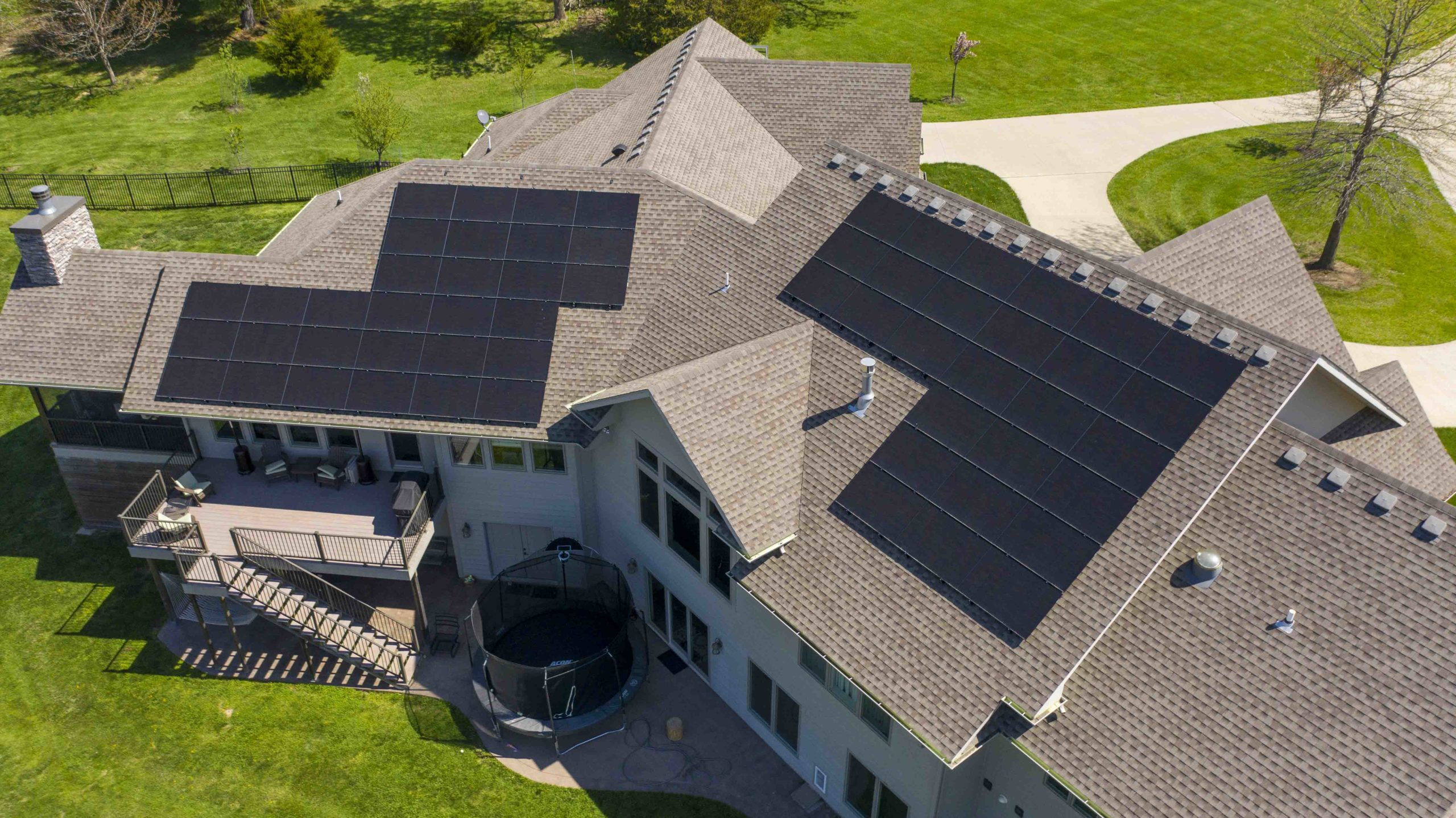 Solar panels are installed on a grand home in Columbia, Missouri. Installation completed by Dogwood Solar.